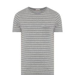 Striped Breast Pockets T-Shirt Grey