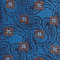 Paisley Flower Pattern Tie Blue