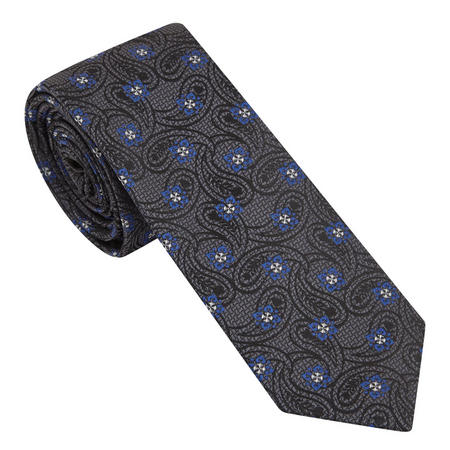 Paisley Flower Pattern Tie Grey