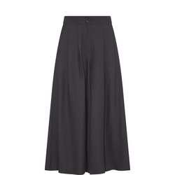 Cropped Wide Fit Trousers Black