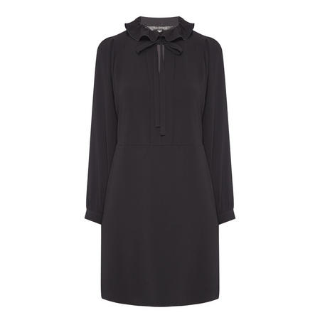 Ruffle Neck Blouse Dress Black