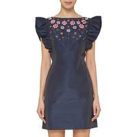 Floral Embellished Dress Navy