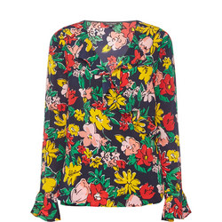 Floral Print Wrap Blouse Multicolour