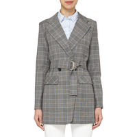 Long Check Jacket Grey