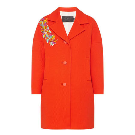 Single-Breasted Floral Detail Coat Red