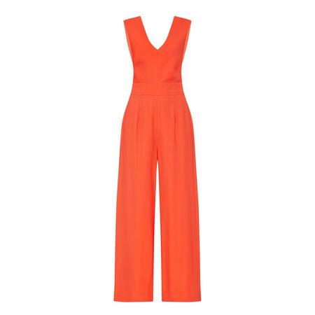 Plunging Neckline Jumpsuit Orange