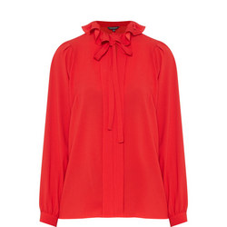 Ruffle Neck Top Red