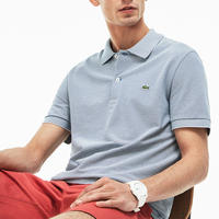 Striped Mini Pique Polo Shirt Blue