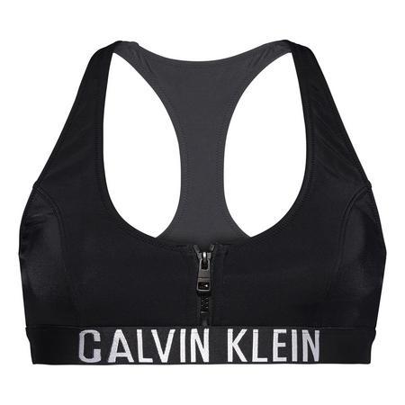 Zip Bralette Bikini Top Black