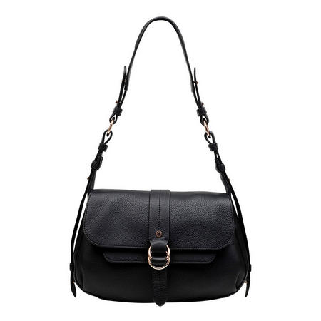 Trinity Square Medium Flapover Shoulder Bag Black