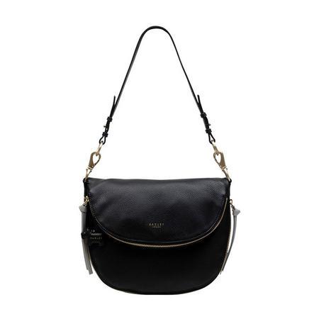 Pudding Lane Medium Flapover Shoulder Bag Black