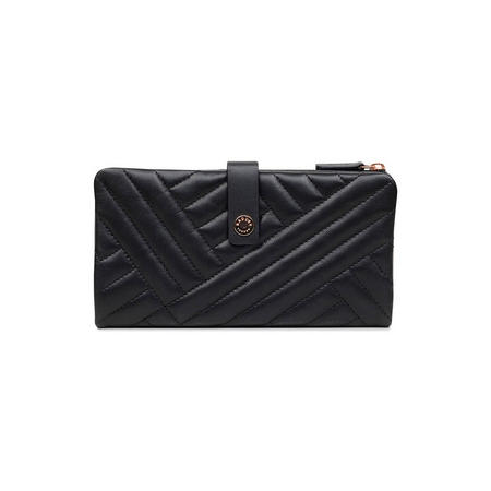 Larks Wood Large Folded Matinee Wallet Black