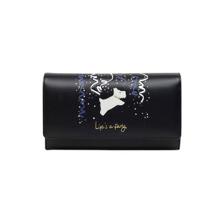 Life's A Party Large Foldover Matinee Wallet Black