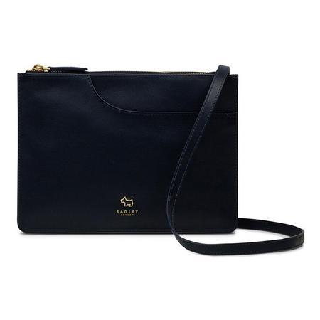 Pockets Medium Rectangular Zip Top Crossbody Bag Navy