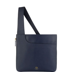 Pockets Large Zip Top Crossbody Bag Navy