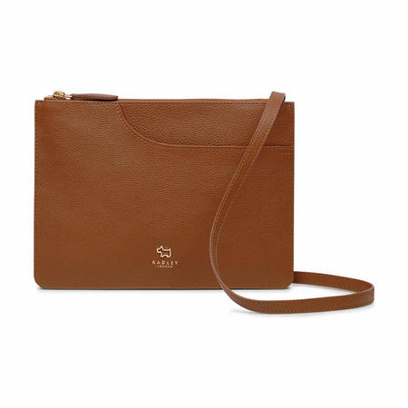 Pockets Medium Rectangular Zip Top Crossbody Bag Brown