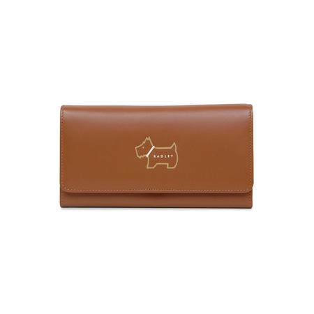 Heritage Dog Outline Foldover Matinee Wallet Brown
