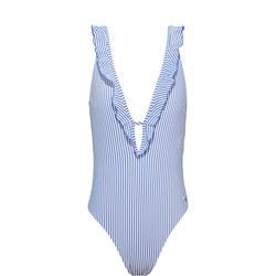 Ruffle Stripe Swimsuit Blue