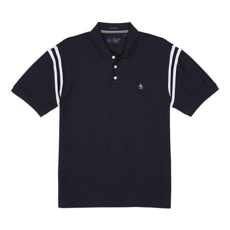 Striped Shoulder Polo Shirt Navy
