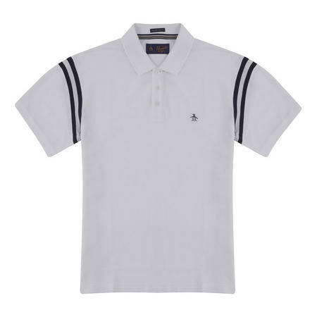 Striped Shoulder Polo Shirt White