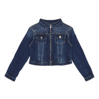 Girls Embellished Denim Jacket Blue