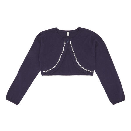Girls Bolero Bling Cropped Cardigan Navy