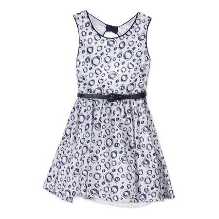 Girls Circle Print Dress Navy
