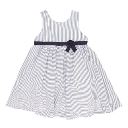 Girls Striped Bow Detail Dress Blue