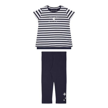 Girls Striped T-Shirt & Leggings Set Navy