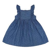 Girls Printed Denim Dress Blue
