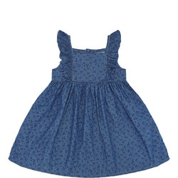 Girls Printed Denim Dress Blue