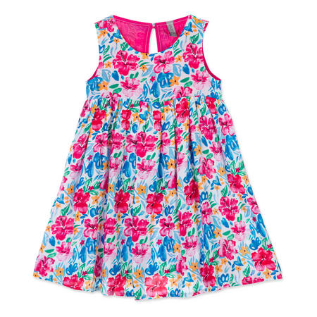 Girls Floral Print Pleated Dress Pink