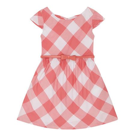 Girls Check Dress Pink