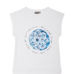 Girls Flower Print T-Shirt White