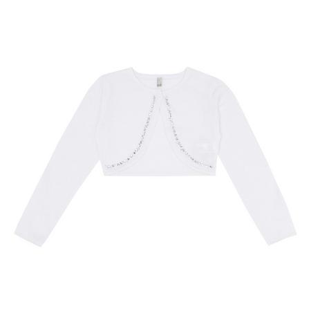 Girls Embellished Cardigan White