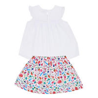 Girls Ruffle Top And Floral Skirt Set White