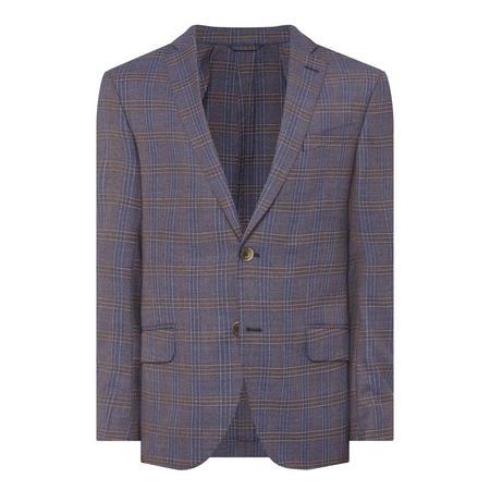 Check Print Suit Jacket Blue
