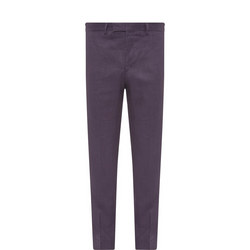 Slim Fit Linen Trousers Navy