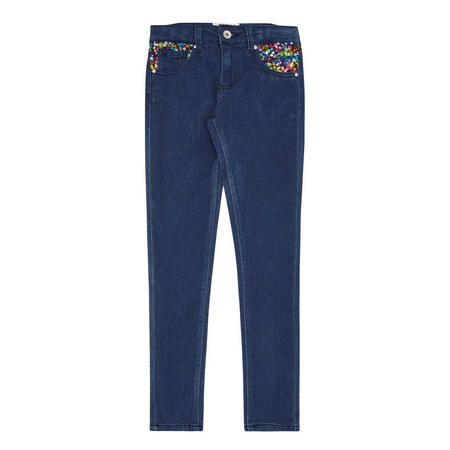 Girls Sequin Jeans Blue
