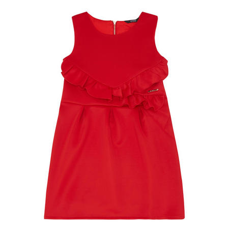 Girls Frill Front Dress Red