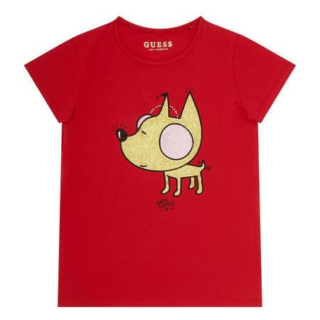 Glitter Dog T-Shirt Girls Red