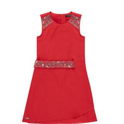 Girls Embellished Belt A-Line Dress Red