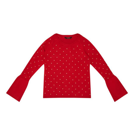 Studded Sweater Red
