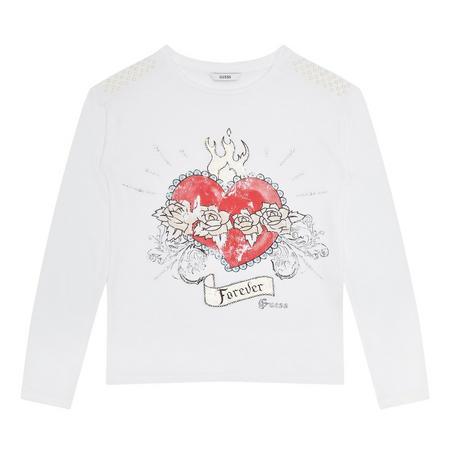 Girls Heart Motif T-Shirt White