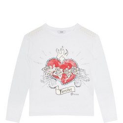 Girls Heart Motif T-Shirt White