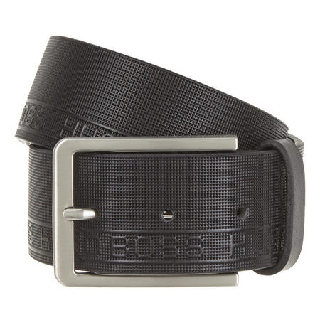 Tone Textured Logo Belt Black