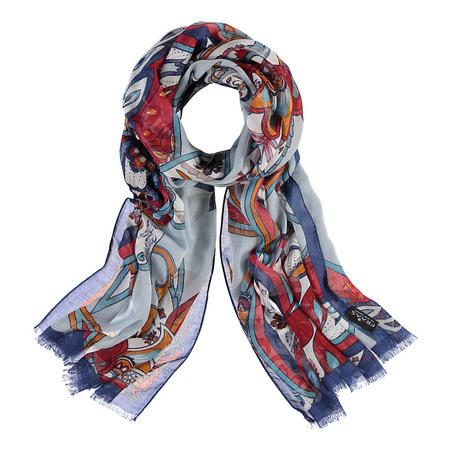 Abstract Print Scarf Blue