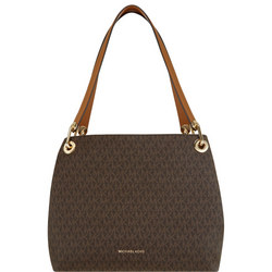 Raven Logo Print Shoulder Bag Brown