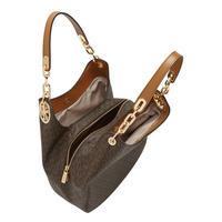 Fulton Logo Print Leather Tote Bag Brown