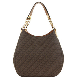 Fulton Logo Print Leather Tote Bag Brown